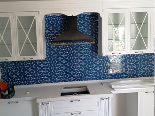 Kristal Cam Mozaik Mavi Küp